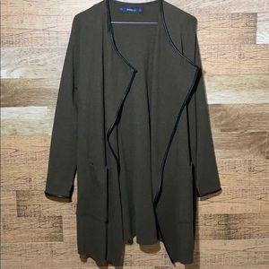 Zara Long Army Green Knit Cardigan leather trims